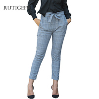 Casual Pants High Waist Wild Casual Ankle Length Pants Female Belt Spring Plaid Fashion For Women