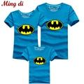 Ming Di Summer 2016 Family Tees 95% Cotton Cartoon Batman T-shirts Dad Mum Baby Brand T shirts Kids Clothes Children Clothing