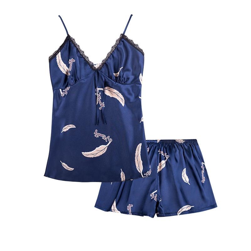 Pajama     Set   Sleep Lounge Sexy Satin Sleepwear Women Summer Pyjama Femme Fashion Flower   Pajamas   for Women   Pajamas     Sets   Nightwear