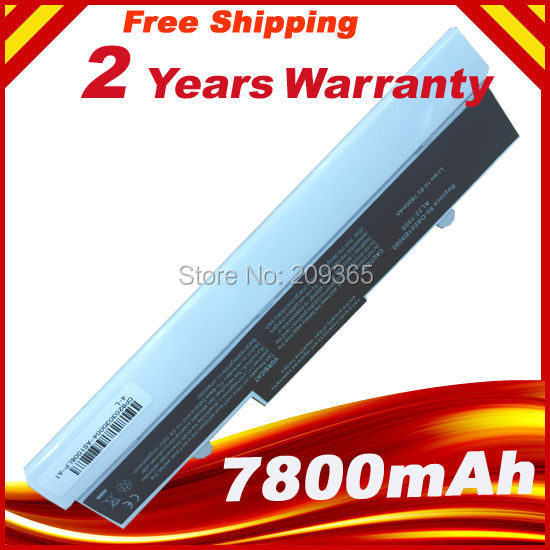 9 Cell 7800mAh Laptop Battery for Asus Eee PC 1001 1005 1101 Netbook White Free Shipping