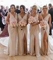 Платье подружки невесты  недорогие пляжные свадебные платья русалки с v-образным вырезом и высоким разрезом  2019