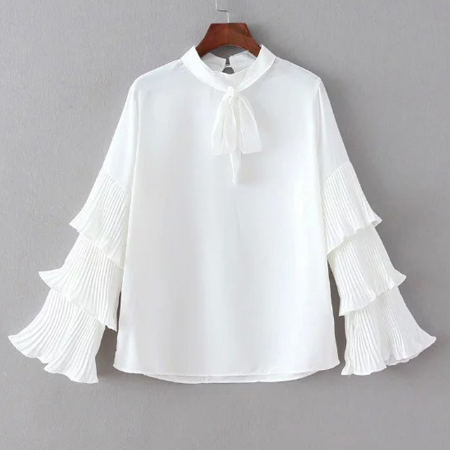 Women Spring White Chiffon Blouses Vintage Long Tiered Flare Sleeved Neck Draw String Pullover Tops Chiffon Shirts & Blouses