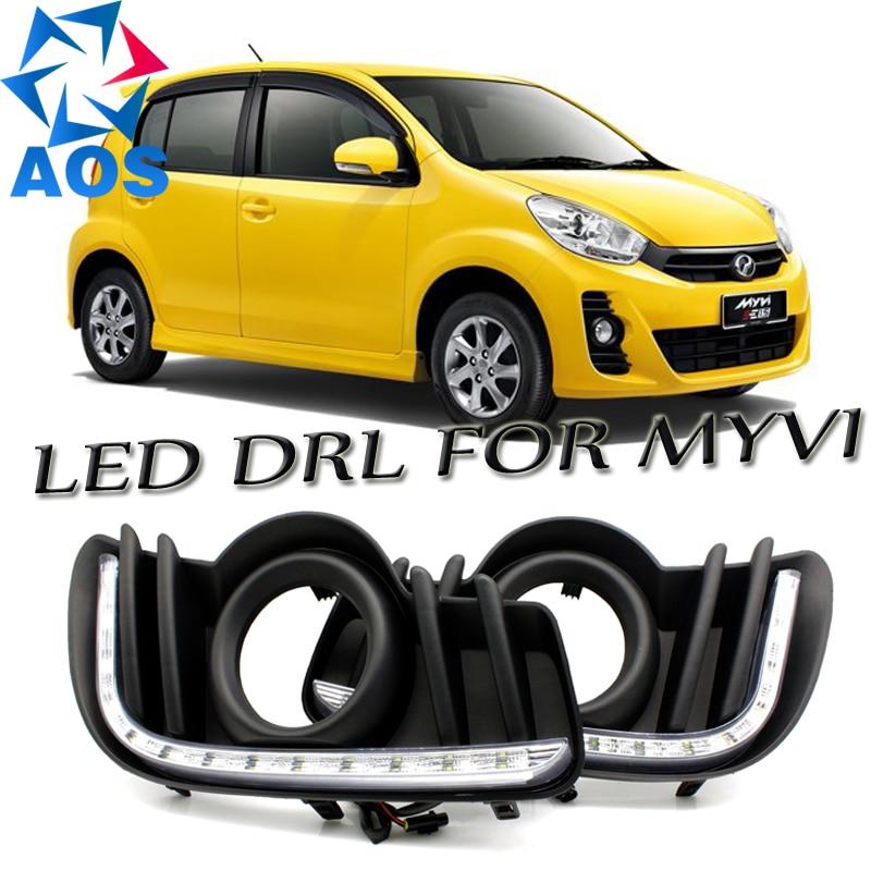 2шт/комплект светодиодные DRL лампы дневного света водонепроницаемый DRL дневные ходовые огни для perodua MYVI 2013 2014