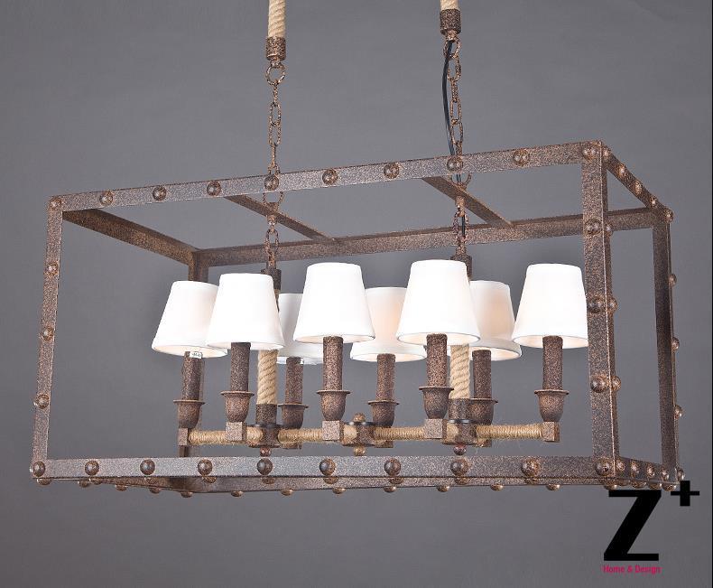Američki stil industrije Luster kutija za željezo Svjetiljka 8 E14 - Unutarnja rasvjeta - Foto 2