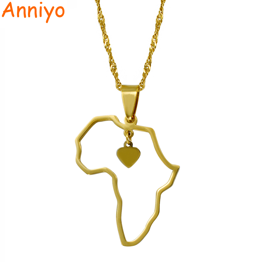 Anniyo Gold Color Africa Map Pendant Necklaces Heart African of Maps Jewelry Charms #010421