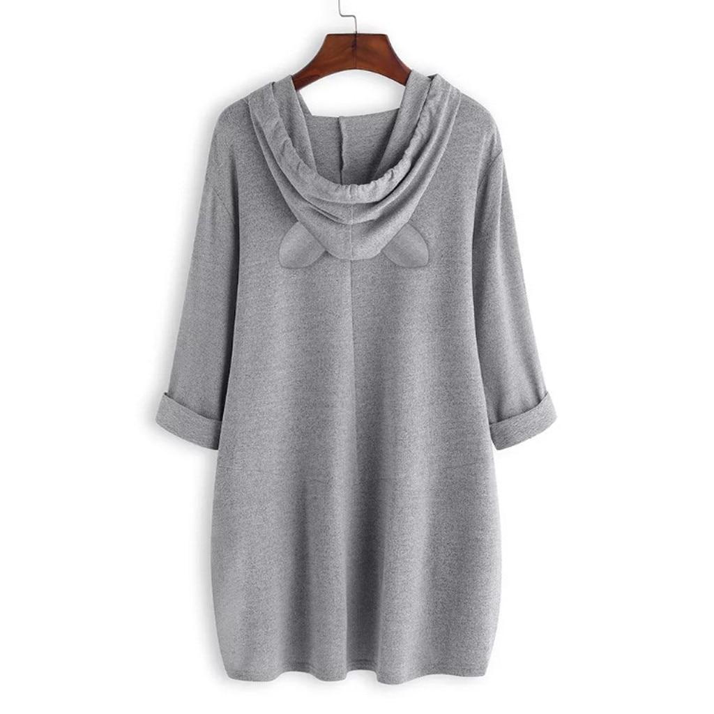 Women Casual Printed Cat Ear Hooded T-Shirt Long Sleeves Pocket Irregular fashion 20