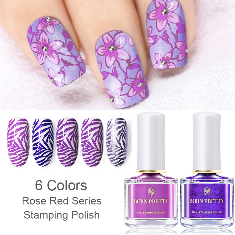 BORN PRETTY 1 Bottle 6ml Stamping Polish Rose Red Purple Colors Nail Art Plate Printing Lacquer Varnish