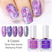 BORN PRETTY 1 Bottle 6ml Stamping Polish Rose Red Purple Colors Nail Art Plate Printing Polish Nail Lacquer Varnish Nail Polish born pretty 6 bottles shimmer nail stamping polish set 15ml nail art varnish nail art polish 23200