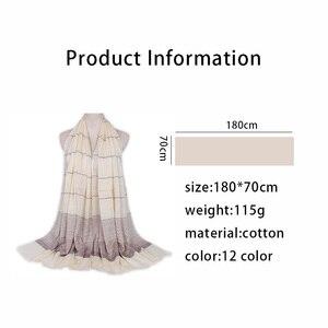 Image 5 - Plain Shimmer maxi katoenen sjaal hijab effen Omzoomd sjaals glitter moslim lange moslim hoofd wrap tulbanden sjaals/sjaal 10 stks/partij