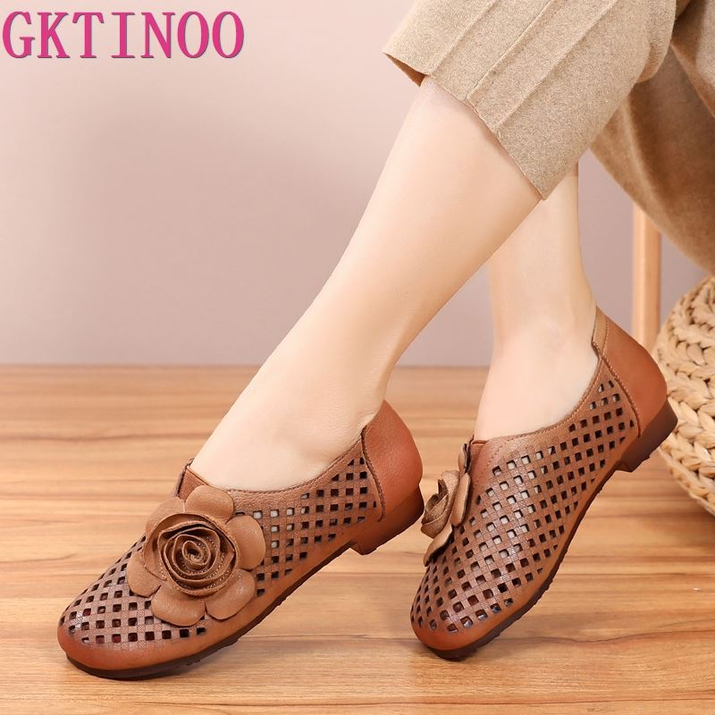 Summer Casual Shoes Woman Breathable Genuine Leather Cut Outs Flat Sandals Big Flower Women shoes Soft