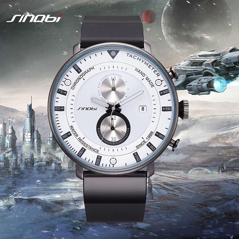 Prix pour Sinobi mens montres chronographe top marque 2017 de luxe ultra mince grand noir horloge étanche en caoutchouc sport homme quartz montre-bracelet