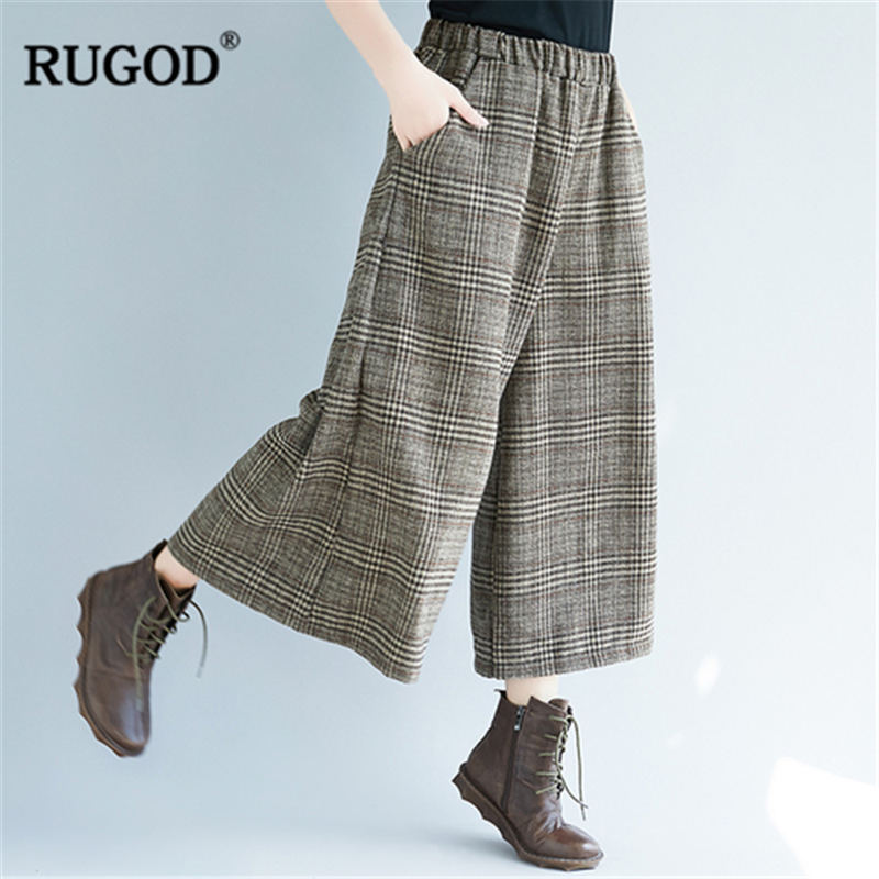RUGOD 2019 Fashion Plaid Women Pants High Waist Wide Leg Trousers Casual Loose Women Pants Pantalones Mujer Cintura Alta