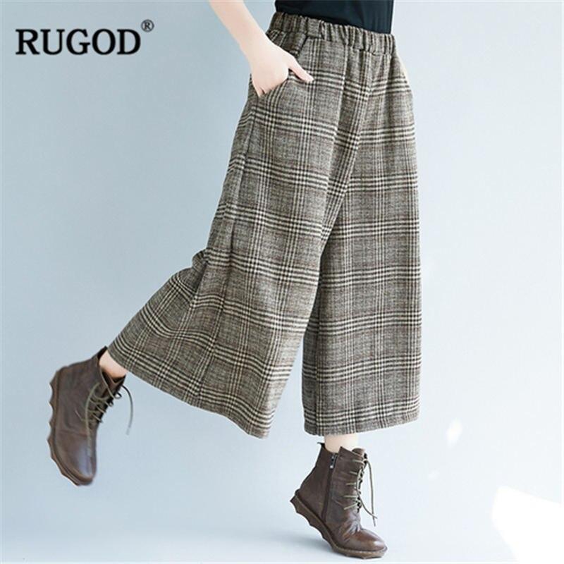 Rugod 2019 moda xadrez calças femininas cintura alta calças de perna larga casual solto calças femininas pantalones mujer cintura alta
