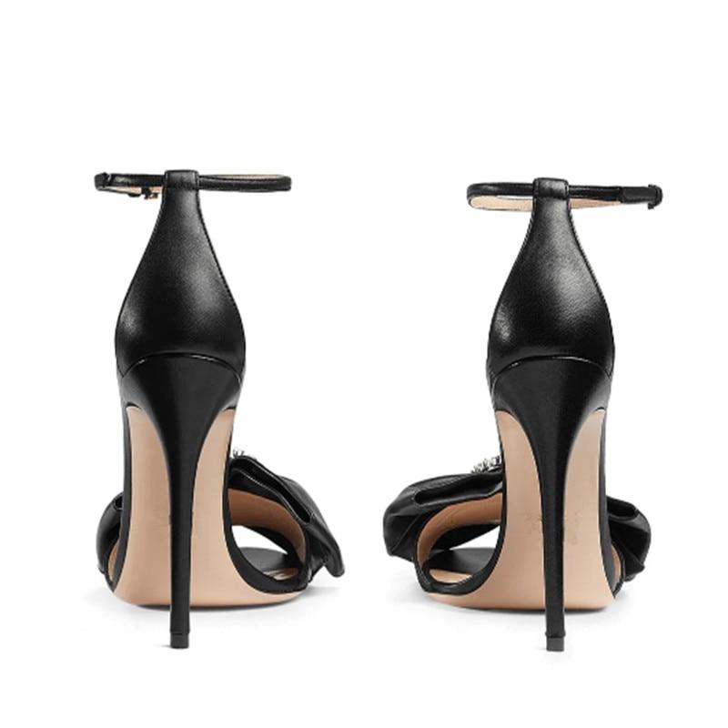 As Peep Stiletto Souliers Talons Toe noeud 2019 Élégant Designers Diamants Dames Arc Boucle Femmes Chaussures Marque Sandales Hauts Anneau Cheville Picture À OqCRA