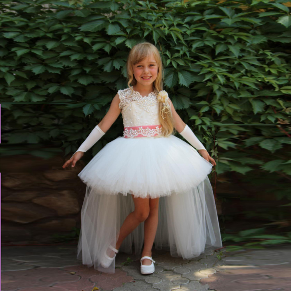 Unique High Low Flower Girl Dresses Gowns Beads Appliques