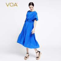 VOA Europe Pure Silk Dress Shirt Sleeve Stitching Straight Shirt Irregular Dress Female A6927