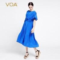 VOA Europe Pure Silk Dress Shirt Sleeve Stitching Straight Shirt Irregular Dress Female A6927