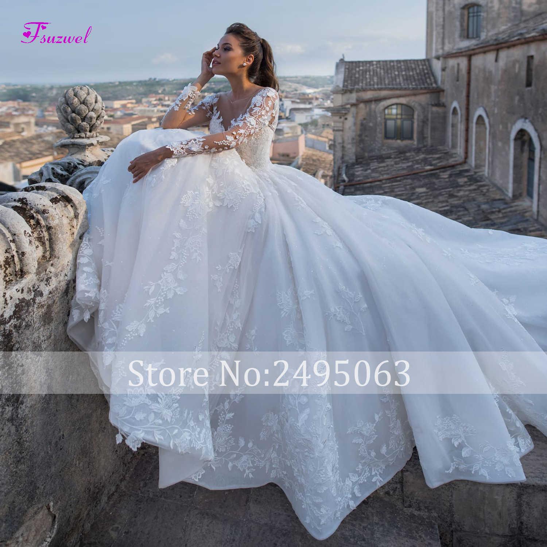 Fsuzwel חדש יוקרה אפליקציות משפט רכבת אונליין חתונה שמלות 2019 אופנה סקופ צוואר תחרה עד נסיכת כלה שמלות בתוספת גודל