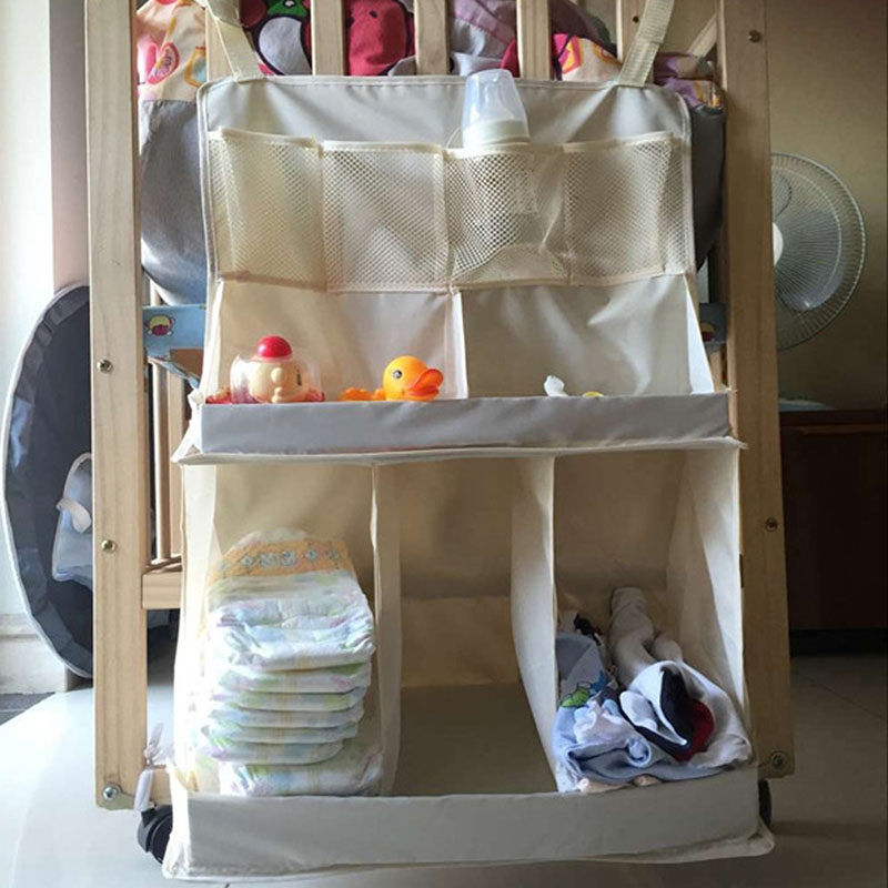 2016 Portable Waterproof Diapers Organizer Baby Bed Cot Hanging Toys <font><b>Storage</b></font> Bag Bedding Set New
