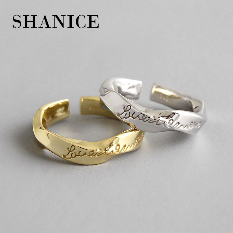 SHANICE Retro Vintage 925 Sterling Silver INS Mobius Wave Twist Letters Open Finger Open Rings for Women Sterling Silver Jewelry