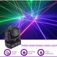 Sharelife Mini 3 Head RGB Shark Moving Beam DMX Network Laser Light Professional Home Gig Party DJ Stage Lighting Sound Auto 3H
