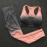 2 Piece ombre gym set yoga sets women gym clothes sports bra and leggings woman gym sportswear female fitness clothing suit