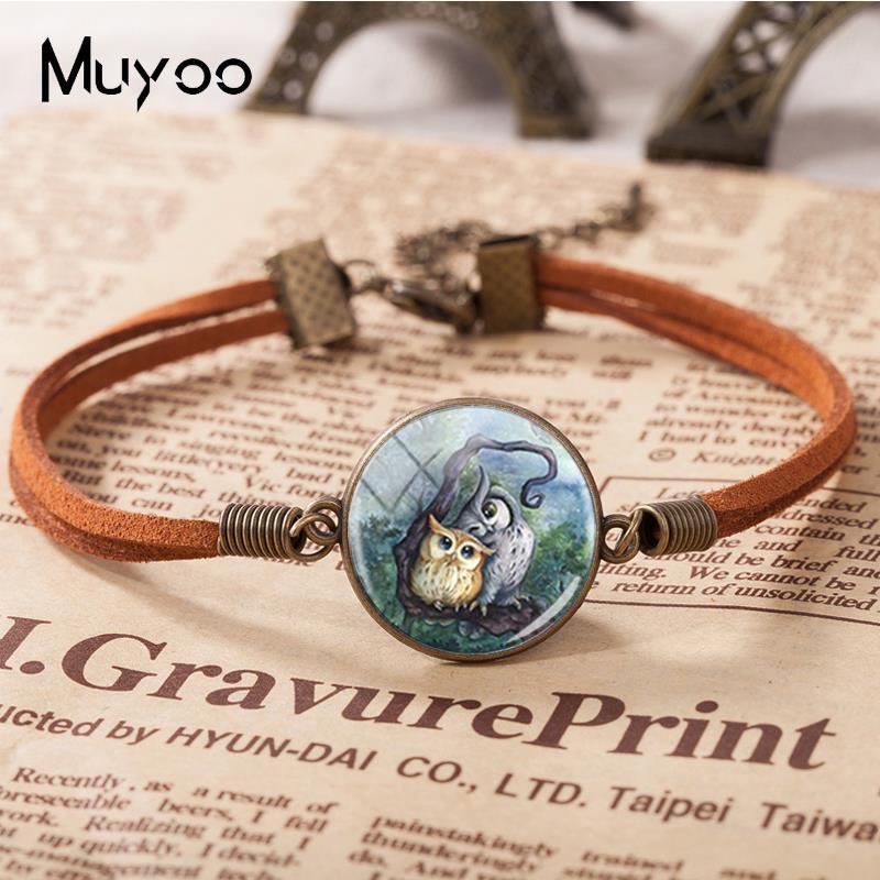 2018 New Lovely Owl Leather Bracelet Glass Cabochon Photo Bracelets Art Handmade Jewelry