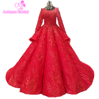 Red Beaded Quinceanera Dresses Sheer High Neck Sweet 16 Masquerad Lace Appliqued Ball Gowns Tulle Debutante Ragazza Waves Dress