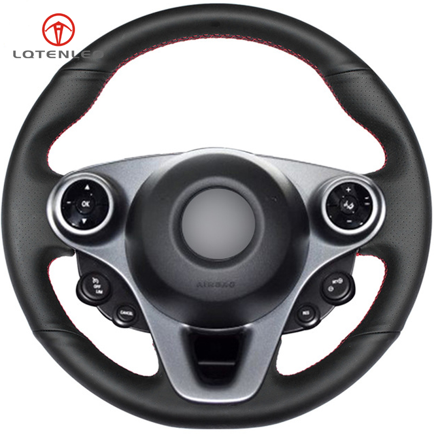 LQTENLEO Black Genuine Leather DIY Hand stitched Car Steering Wheel Cover for Mercedes Benz Smart New