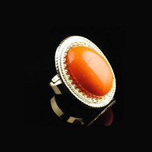 Sangdo Fashion Womenlady Retro Alloy Big Oval Orange Stone Gold Adjustable Ring(China)