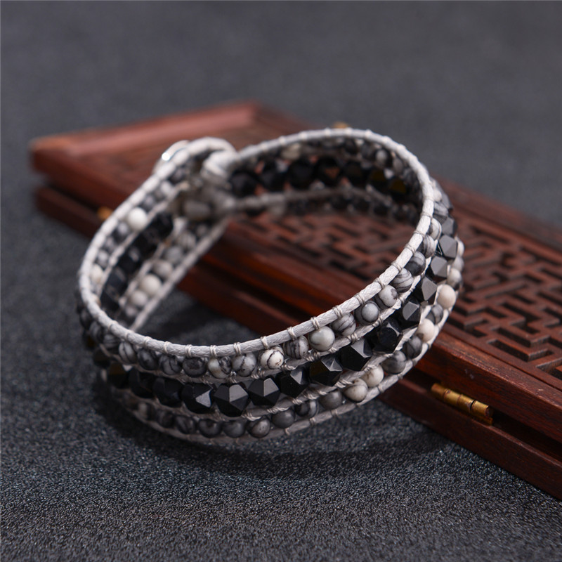 Dropshipping Exclusive High End Cuff Bracelets Natural Stones Leather Wrap Bracelet Handmade Leather Beaded Bracelet