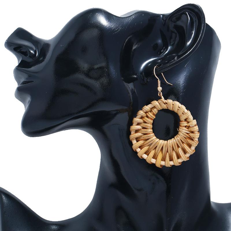 Bohemian Wicker Rattan Knit Pendant Earrings Handmade Wood Vine Weave Geometry Round Statement Long Earrings for Women Jewelry 27