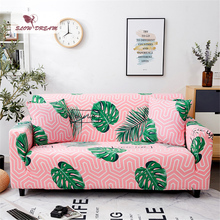 Slowdream Pink Nordic Leaf Sofa Cover Double Single Decor Home Living Room Couch Elastic Band Love Seat Slipcover