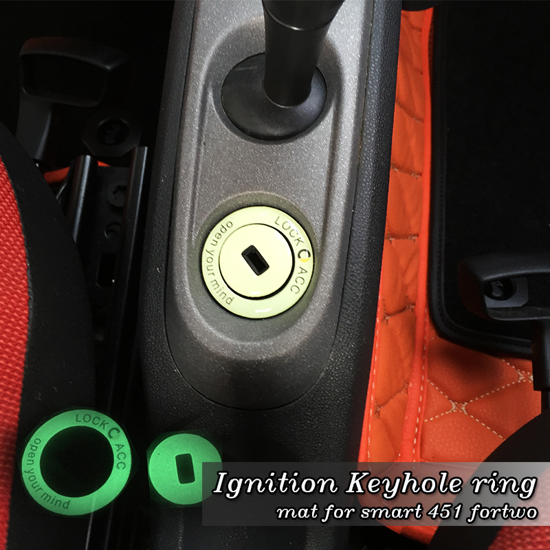 Car Accessory Luminous Car Ignition Keyhole Ring Car Sticker Key Switch Decoration Ring For Smart 451 Fortwo