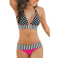Summer Bathing Suit Sexy Stripe Fringe Dotted Large Size Bikini Top Bottom Swimsuit For Women Swimwear
