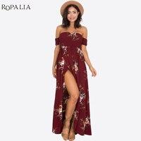 ROPALIA Summer Dresses Boho Style Long Dress Women Off Shoulder Beach Floral Print Vintage Chiffon Maxi