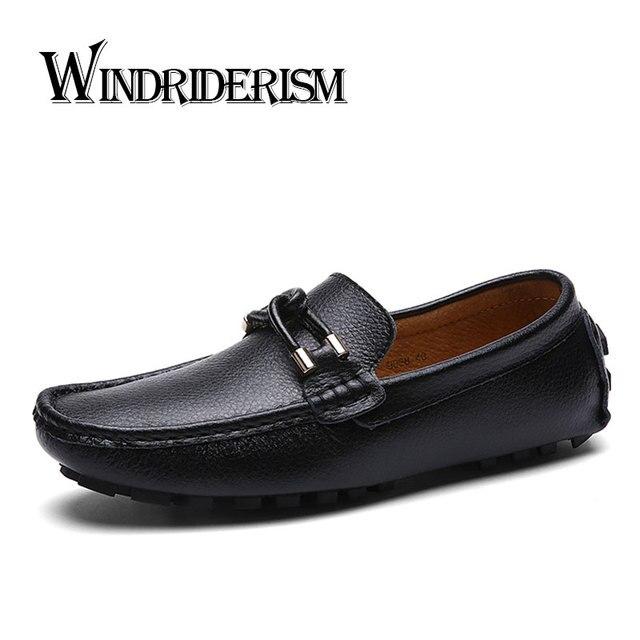 aca292d4005 WINDRIDERISM Nueva Primavera 2017 Hombres de La Moda Mocasines Zapatos de  Conducción de Cuero Partido De