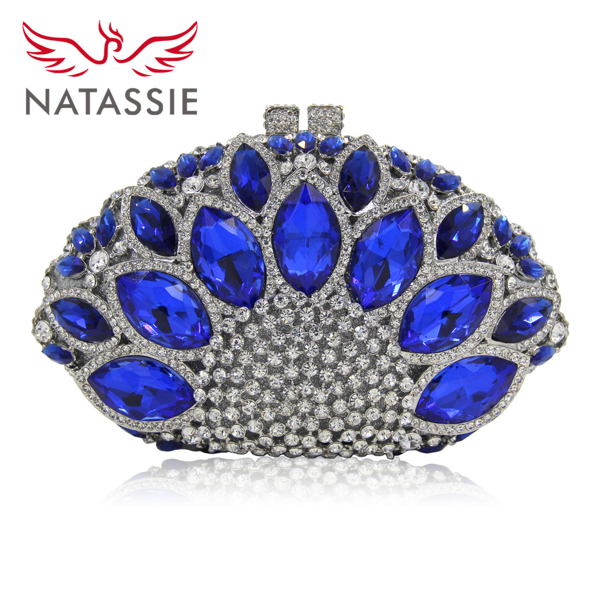 NATASSIE Women Blue Clutch Bags Ladies Silver Evening Bag Party Clutches Female Wedding Purses colourful bird women evening luxury bags crystal clutches laides evening bag female party hard case bags wedding clutch purses