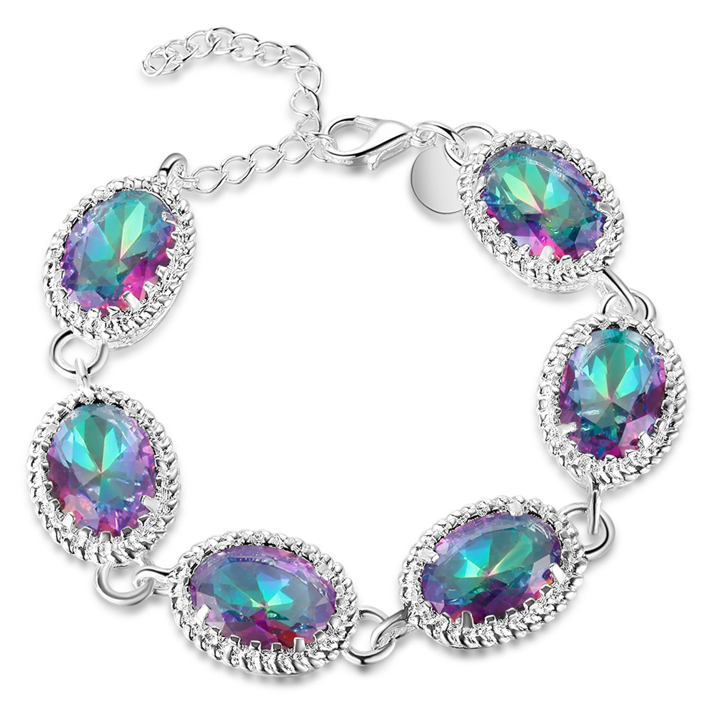 Crystal wedding bracelet luxury silver plated chain link for Bracelet for wedding dress