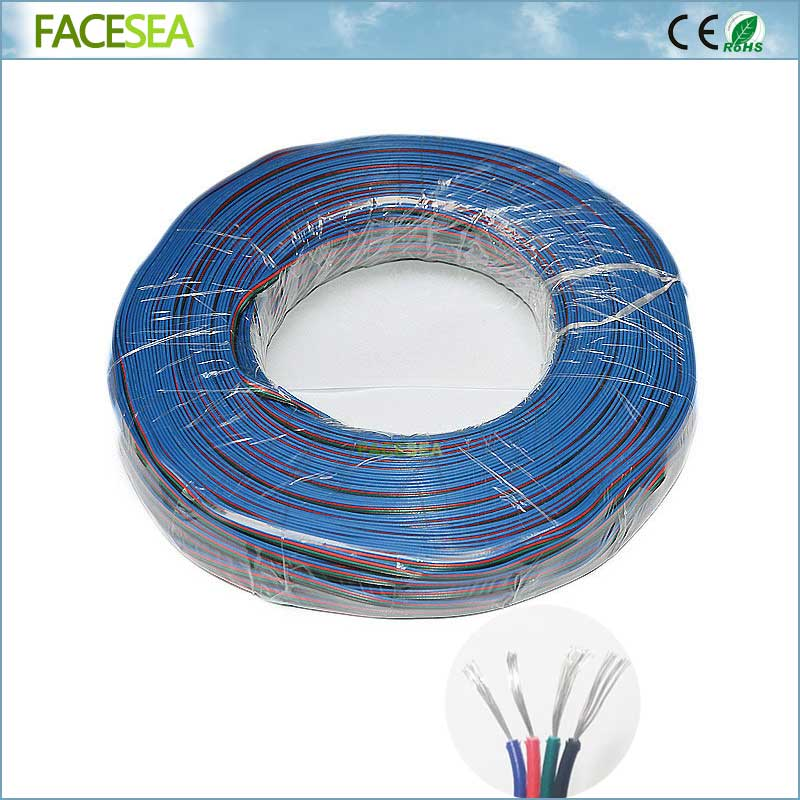 100m 18AWG 22AWG 4pin 5pin electrical Extension wire, thinned copper insulated wire, Connector Cable For RGB RGBWW LED Strip