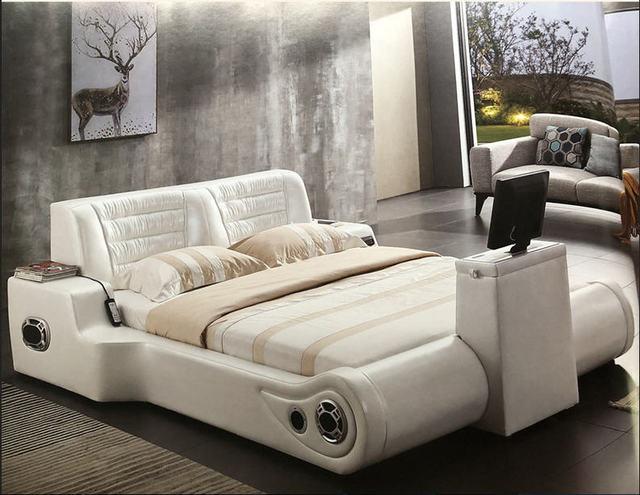 Real Genuine leather bed TV Soft Beds Bedroom camas lit muebles de dormitorio yatak mobilya quarto massage speaker bluetooth 2