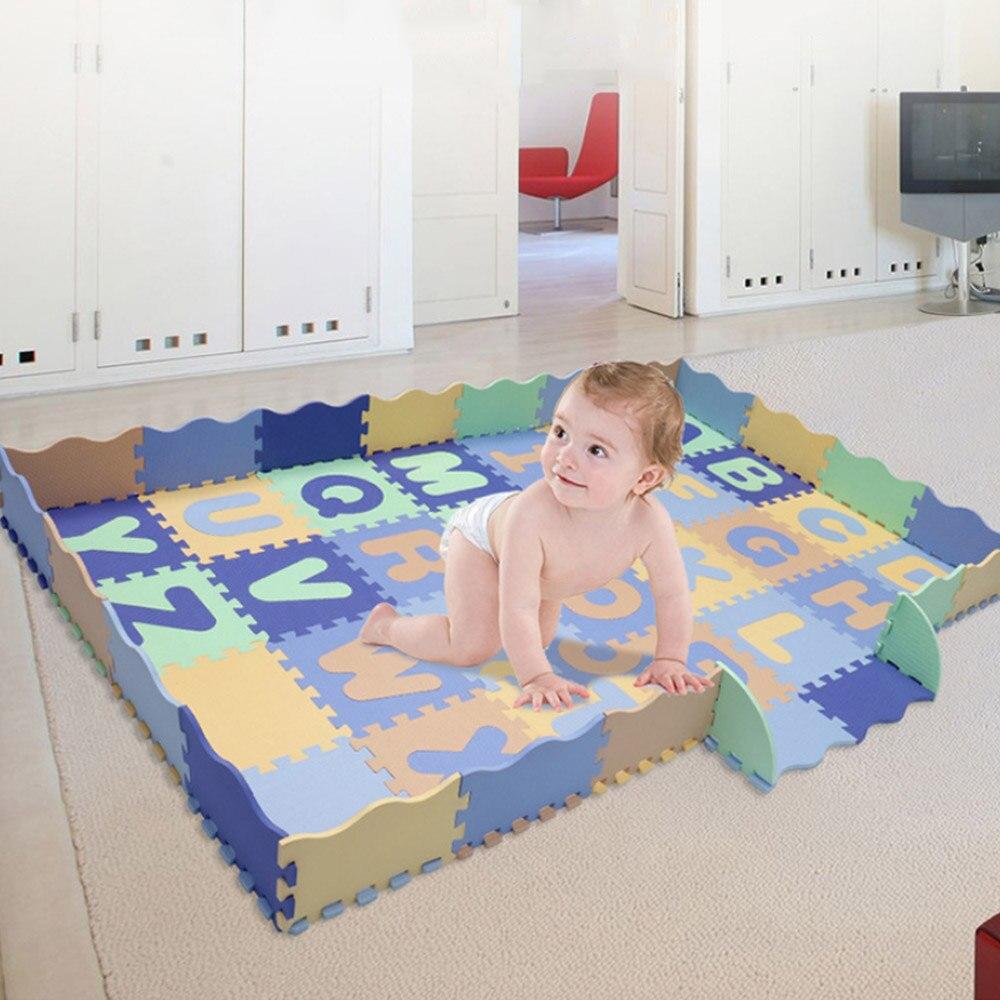 Tapis de jeu de bébé de modèle d'alphabet avec des carreaux de plancher de mousse de barrière tapis rampant pour le tapis d'enfant de bébé avec la barrière jouets d'enfants jeu de Puzzle - 2