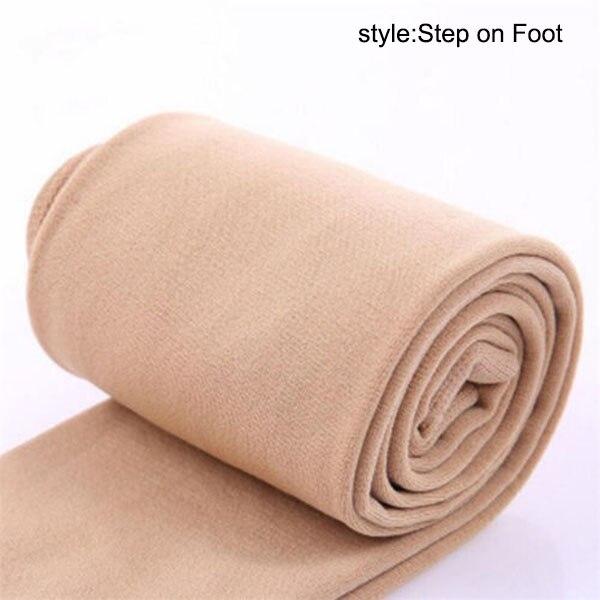 Осенне-зимние модные женские теплые флисовые зимние тянущиеся леггинсы с теплой флисовой подкладкой, тонкие теплые штаны BFJ55 - Цвет: Nude Step on Foot