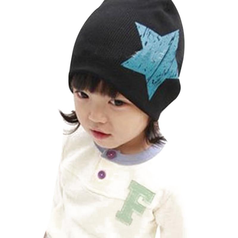 New Children's Winter Hats Baby Hat Star Printing Beanie Hats Girls Boys Bonnet Spring Autumn Winter Cotton Knitted Hat Child