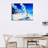 Diy Oil Painting By Numbers Landscape Beach Yacht Framed Pictures On Canvas Home Decoration Unique Gift