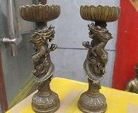 Chiński królewski fengshui smok Paly koralik świecznik brąz świecznik para w Posągi i rzeźby od Dom i ogród na
