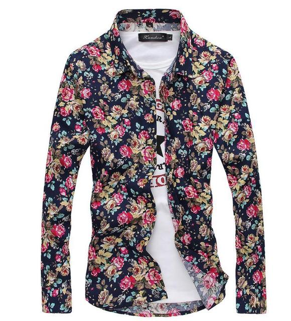 afb7977a US $14.99 |Brand Mens Shirt camisa masculina Men's Long Sleeve Floral Print  Dress Shirts Cotton Turndown Social Shirts Slim Fit Men Shirts-in Casual ...