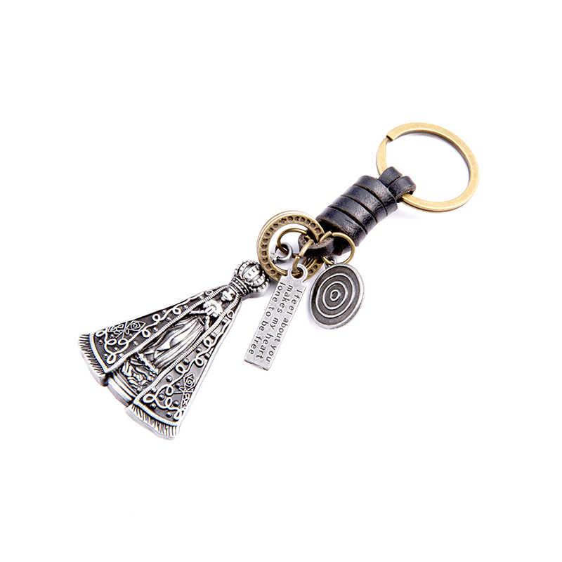 Figura de metal príncipe rainha menina pingente suspensão cadeia anel chave do carro chaveiro de couro Bonito capa bolsa encantos da bolsa do saco das mulheres