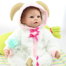 50-55CM NPK Dolls Lifelike Silicone Reborn Baby Dolls With Baby Sheep Clothes Lovely Alive Cheap Newborn Baby Dolls For Sale