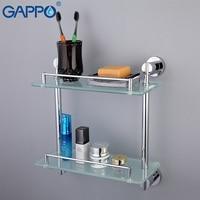 GAPPO Stainless Steel Wall Mount Bathroom Shelves Glass Shelf Holders Bath Double Layer Storage Shelf Bath